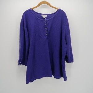 Avenue Button Front 3/4 Sleeve Tunic Top Blouse